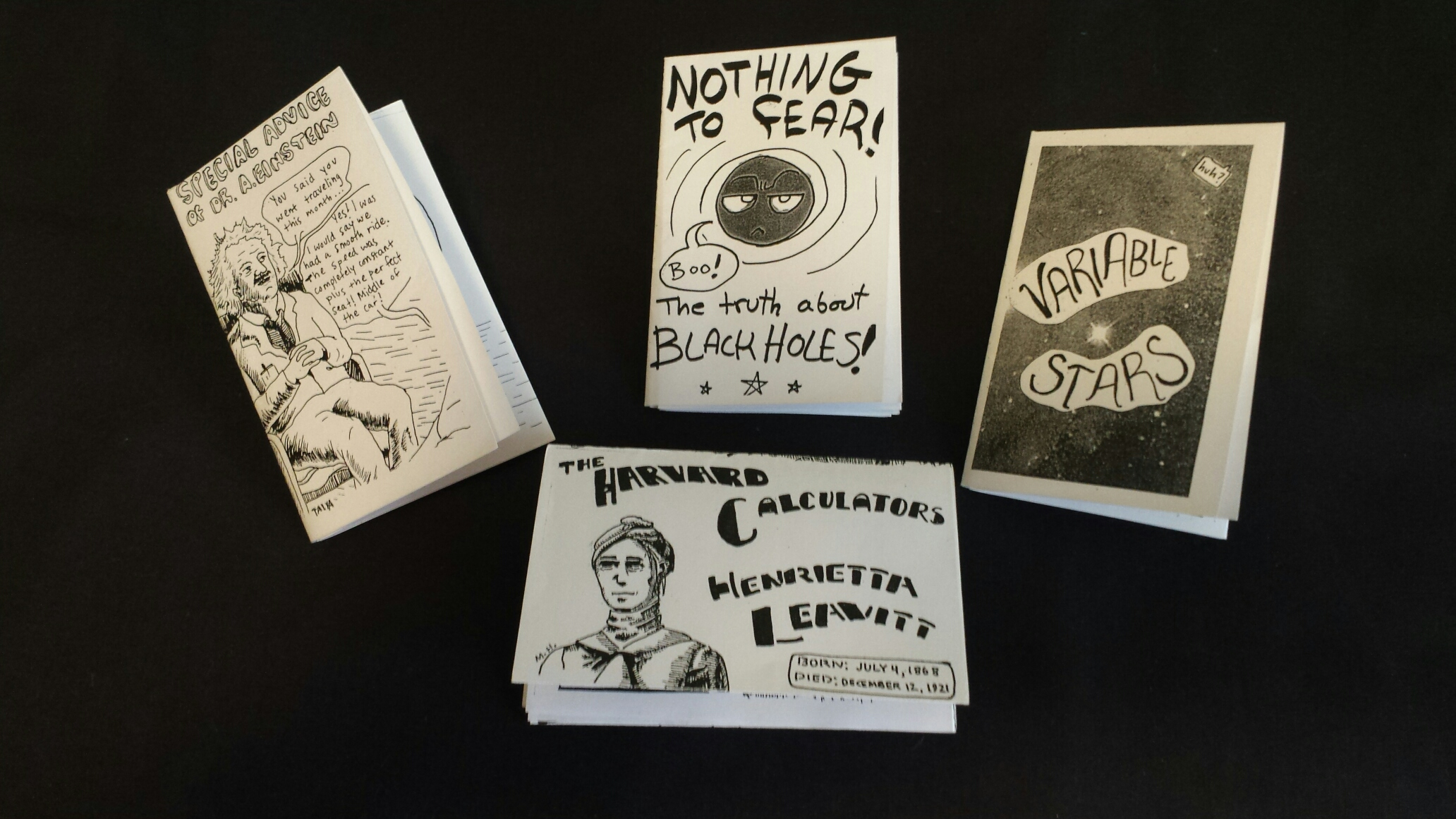The image gives pictures of zines.
