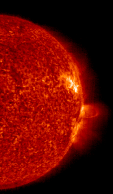 Picture of sun prominence and solar wind