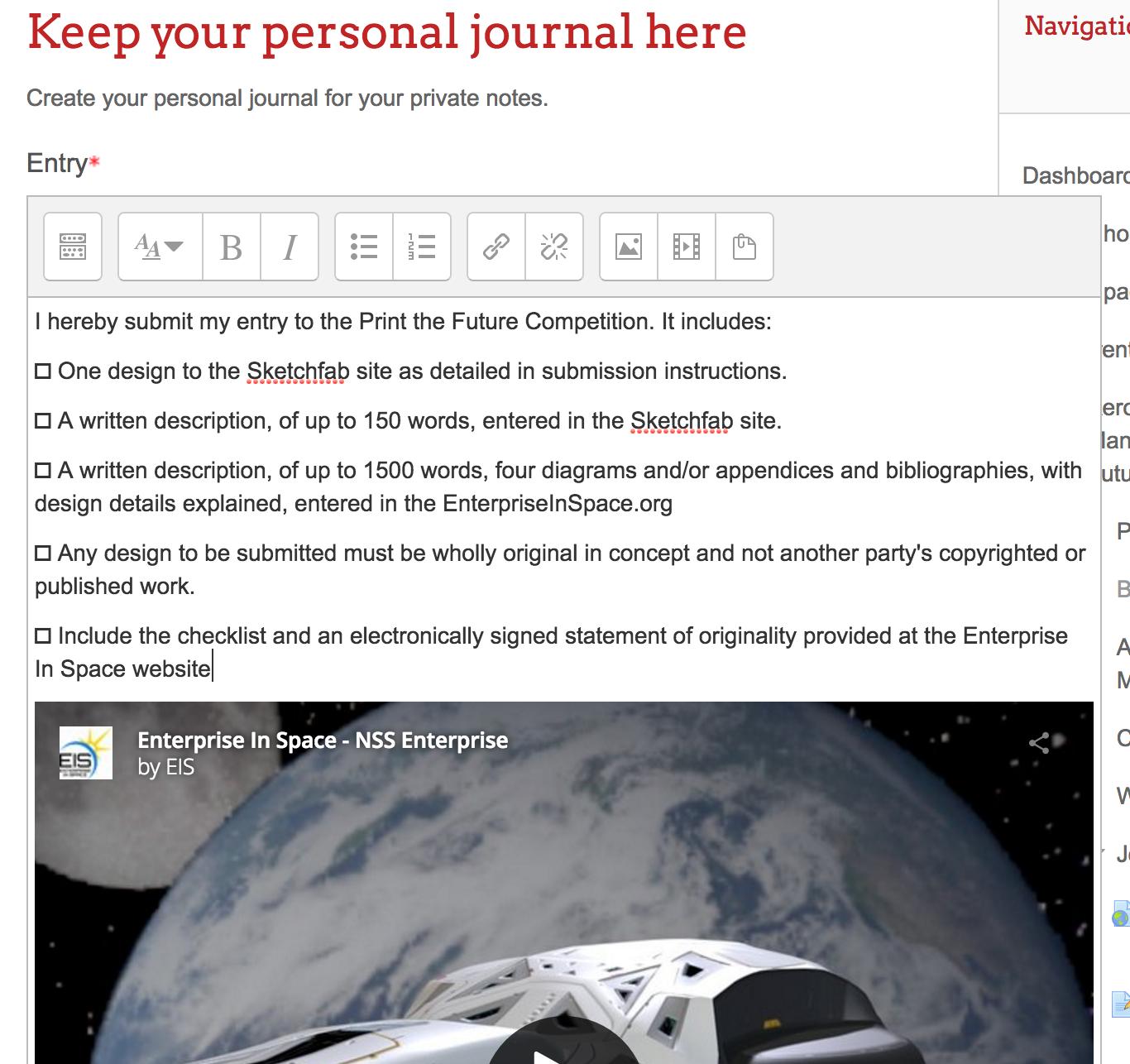 A screenshot of a journal entry on EIS Academy